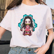 Kimetsu No Yaiba Kawaii T-shirt Women Japanese Anime Demon Slayer T Shirt Female Ulzzang Harajuku Shirt 90s Cartoon Graphic tees