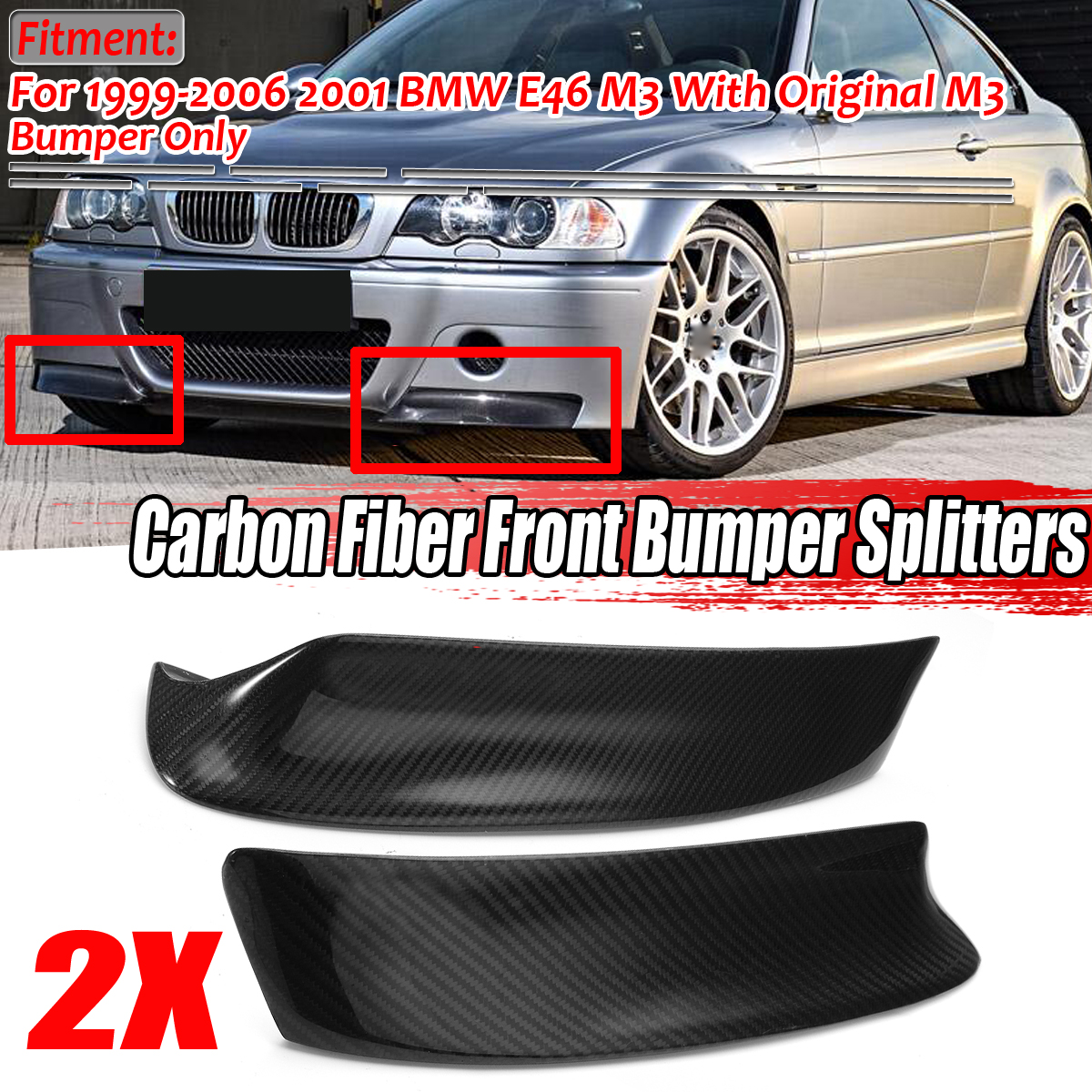 1Pair Racing Carbon Fiber Style Front Bumper Lip Diffuser Splitters Canard Splitter Air Vent Cover Trim for BMW E46 M3 1999-2006 image