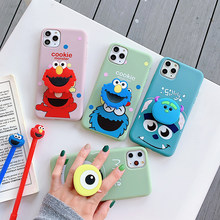 Hot Sesame Street Mike 3D Dukungan Lembut Silicon Cover Case untuk Apple Iphone 6 6S S 7 7 Plus 8 8 PLUS X XR X Max 11 Pro Ponsel Tritone(China)