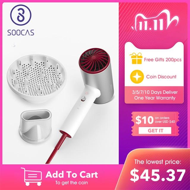 SOOCAS H5 שלילי יון שיער מייבש 1800W מקצועי מייבש אלומיניום סגסוגת עוצמה חשמלי מייבש קר חם אוויר במחזור