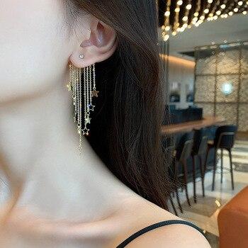 Exaggerated temperament star tassel earrings rear hanging six-pointed star earrings European and American women fashion earrings 1