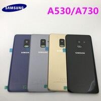 삼성 갤럭시 A8 A8 플러스 2018 A530 A730 다시 유리 배터리 커버 삼성 A8 A8 + 후면 유리 커버에 대 한 후면 도어 하우징 케이스|휴대폰 케이스|   -