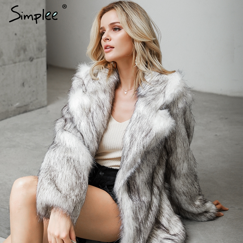 Simplee Winter Fax Fur Women Coats Luxurious White Long Fur Loose Outerwear Plus Size Thick Warm Shaggy Female Streetwear Coat