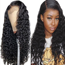 13x4 Water Wave Lace Frontal Malaysian Hair Weave Wigs Remy Bleached Knots Lace Front Human Hair Wigs HairLine For Black Women(China)