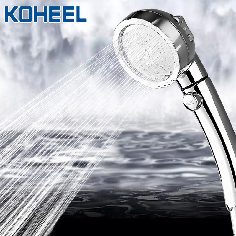KOHEEL Shower Head Hand Shower Adjustable 3 Mode High Pressure Shower Head Water Saving One Button To Stop Water Hand Shower