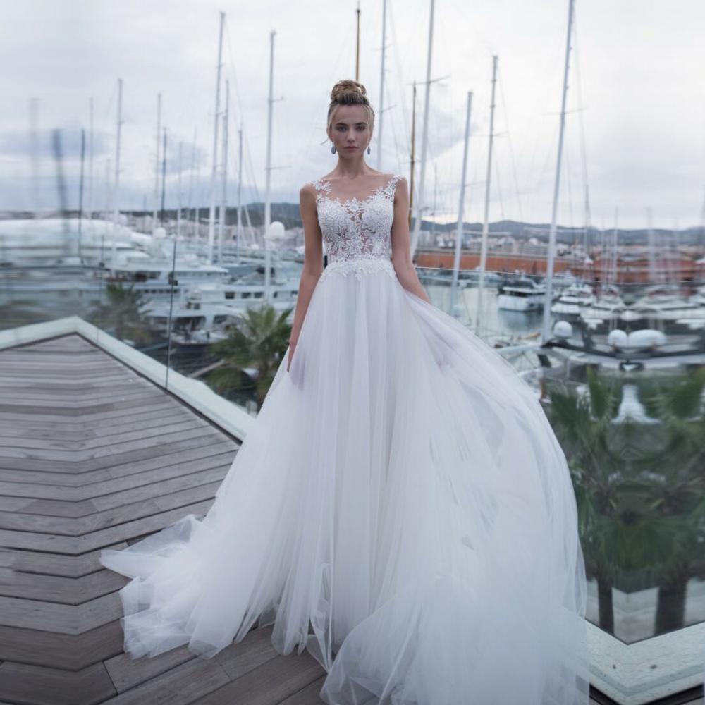 See Through Tulle Back Luxury Wedding Dress Plus Size Abito Da Sposa Lace Appliques Bride Gowns Bridal Dresses Vestidos De novia
