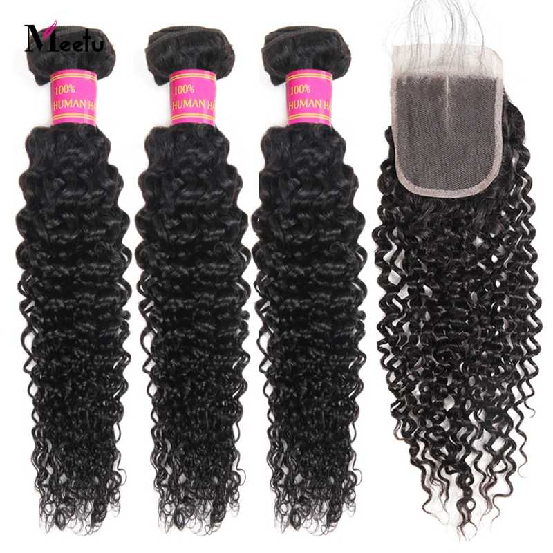 Meetu Kinky Curly Bundles With Closure 3 Bundles with Closure Malaysian Hair Bundles Non Remy Human Hair Bundles with Closure