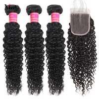 Meetu Kinky Krullend Bundels Met Sluiting 3 Bundels met Sluiting Maleisische Haar Bundels Niet Remy Human Hair Bundels met Sluiting