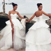 Mrs win Wedding Dress Boho Strapless Beach Dresses Plus Size Women Vestido De Noiva Tiered Ball Gowns 2019 HR047