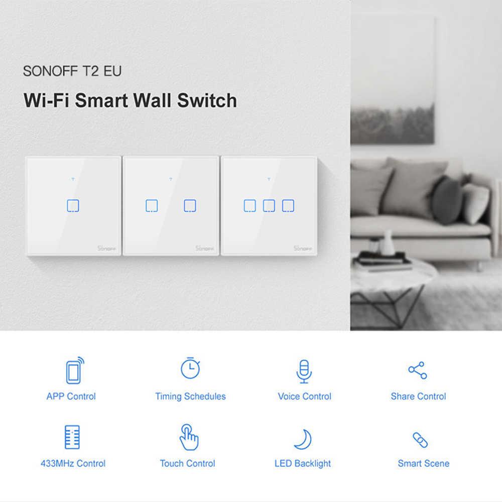 Sonoff T2 interruptor de luz Wifi UE/Reino Unido Panel 1 2 3 bandas 433mhz RF interruptor remoto inteligente controlador doméstico funciona con Google Home