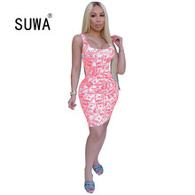 Wholesale US dollar bills print pink women dresses summer st