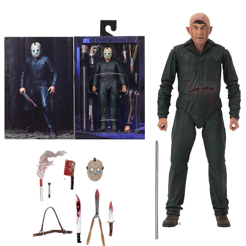 18cm Original NECA Friday the 13th Jason Parte Final 5 Roy Queimaduras Action Figure Modelo Toy Boneca Presente