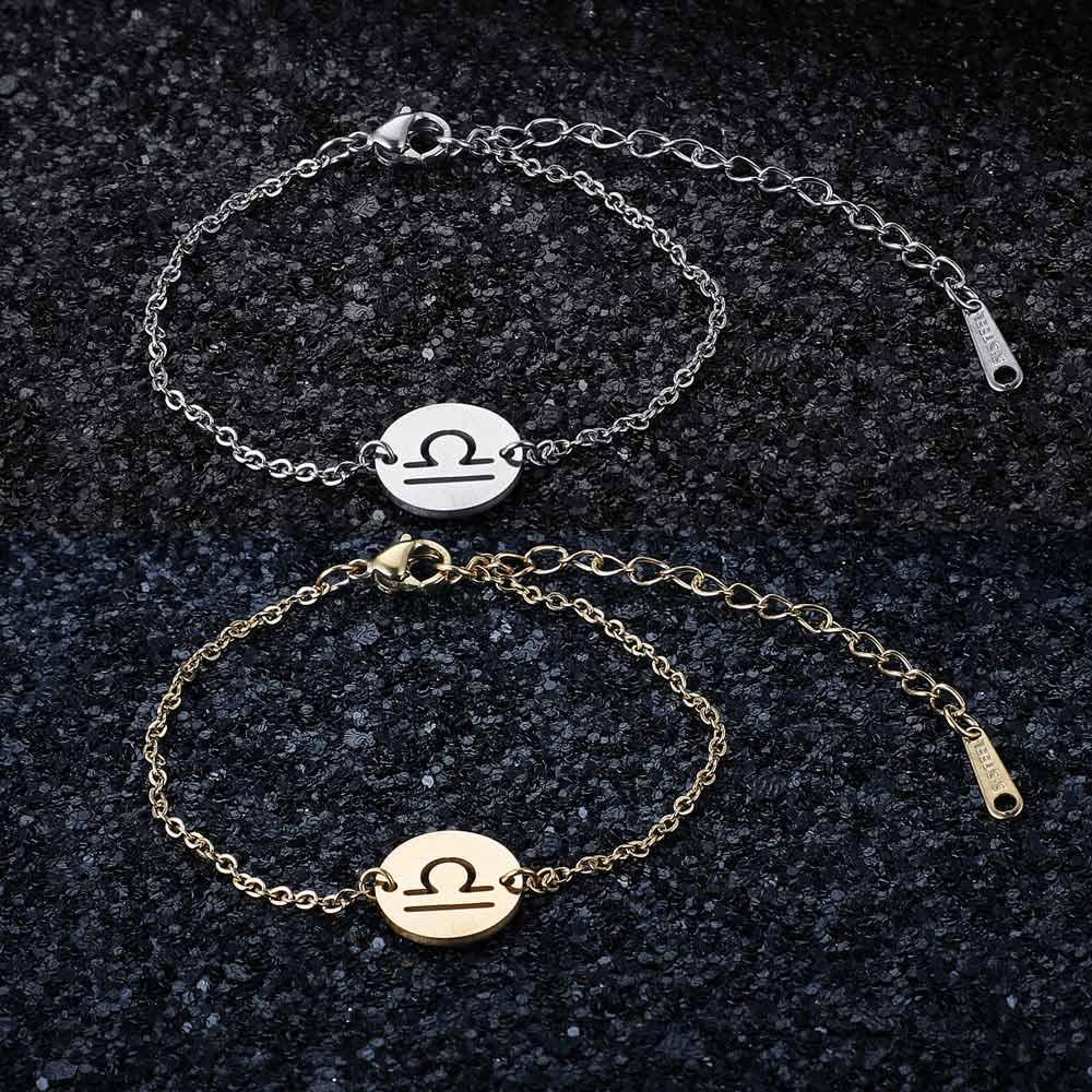 12 Constellation Zodiac Charm Bracelet for Women Female 100% Stainless Steel AAAAA Quality Bracelet High Polish Charms Bracelets