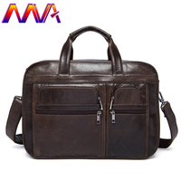 MVA Newly Men`s Leather Briefcase Notebook Laptop Briefcase 100% Genuine Leather Men Handbag Women Leather Briefcase