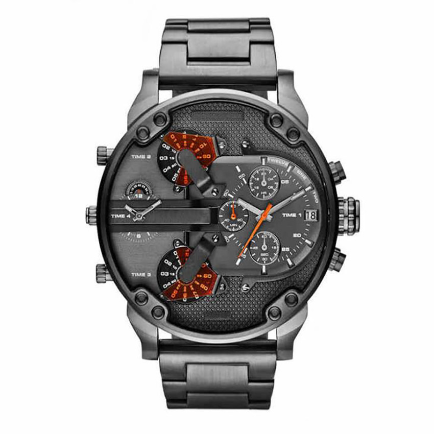 Men's <font><b>52MM</b></font> Big Case Quartz <font><b>Watch</b></font> Classy Mens Wrist <font><b>Watches</b></font> Waterproof Dual Time Displays Military relogio masculino Male Clock image
