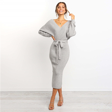 Sexy Dress Women Long Dresses Autumn Knitting Cotton Sheath V Neck Solid Color Sleeve With Sashe