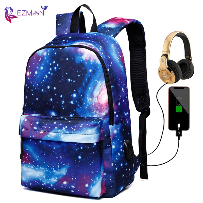 Riezman Women Backpack New Galaxy Star Space Printing Backpack For Teenage Girls Schoolbags USB Charger Camping Travel Bookbag
