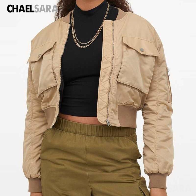2020 Autumn Women Short Baseball Jackets Casual Solid Zipper Loose Bomber Coat Female Outwear Tops Chaqueta Innrech Market.com
