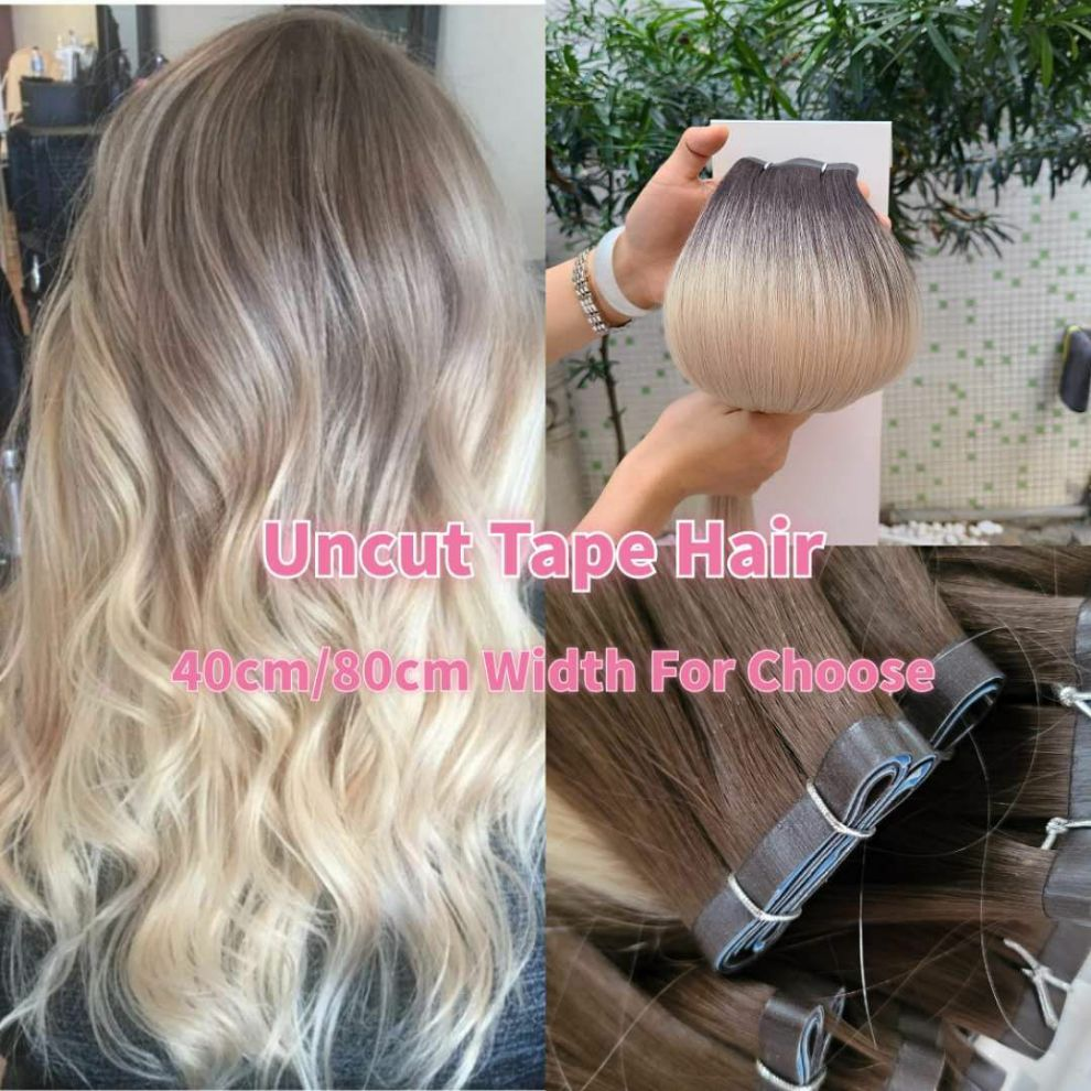 K.S WIGS 20'' Tape In Hair Weft Extension Double Drawn Virgin Cuticle Human Hair Seamless Uncut Skin Weft 40cm/80cm Width