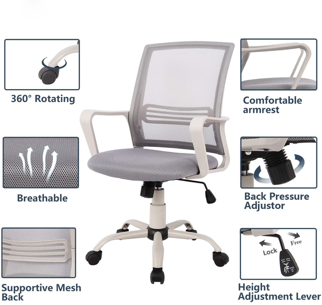 Ergonomic office chair Mid Back Mesh Computer Chair with Lumbar Support Armrest Executive Rolling Swivel Desk Chairs 4