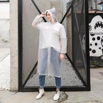 New Casual Men Women Raincoats Rain Coat Hooded Waterproof Jacket Poncho Rainwear Overalls Solid Cle