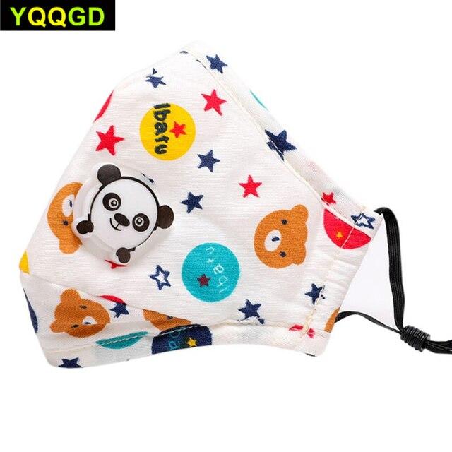 1Pcs Winter Children Mask Respiratory Valve Cartoon Panda Thicken Smog Mask Warm Mask Fits 2-10 Years Old Kids 3