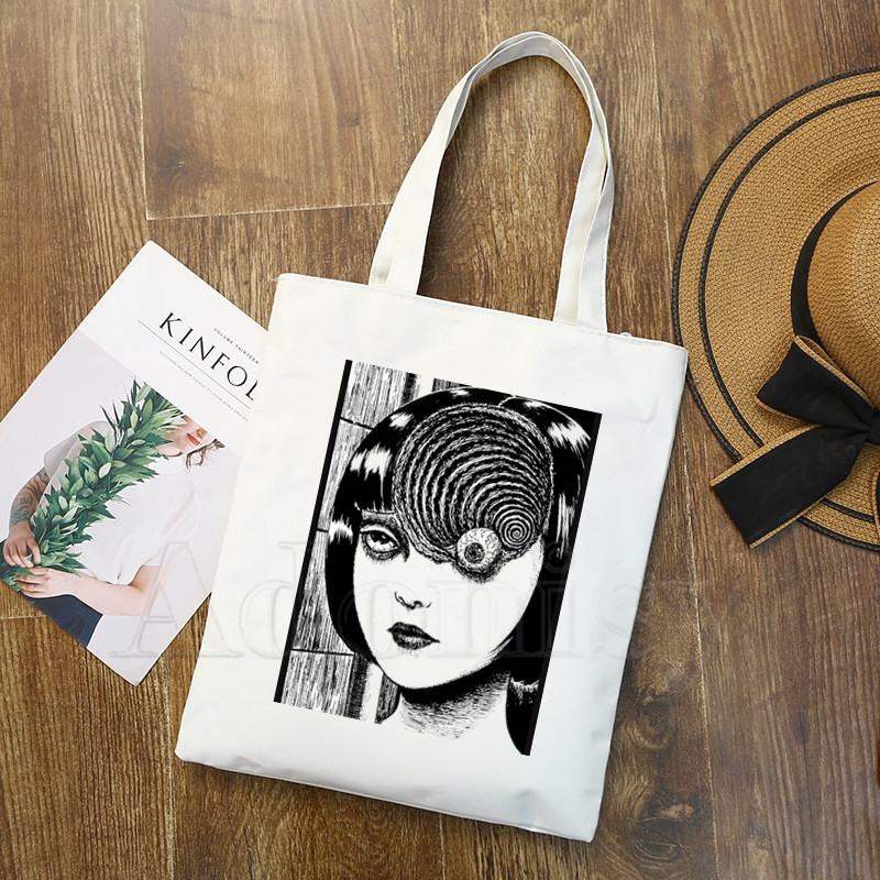 Manga Junji Ito Shintaro Kago Canvas Bag Casual Large Hand Bags For Women Ladies Shopping Handbag Print Large Capacity Bag