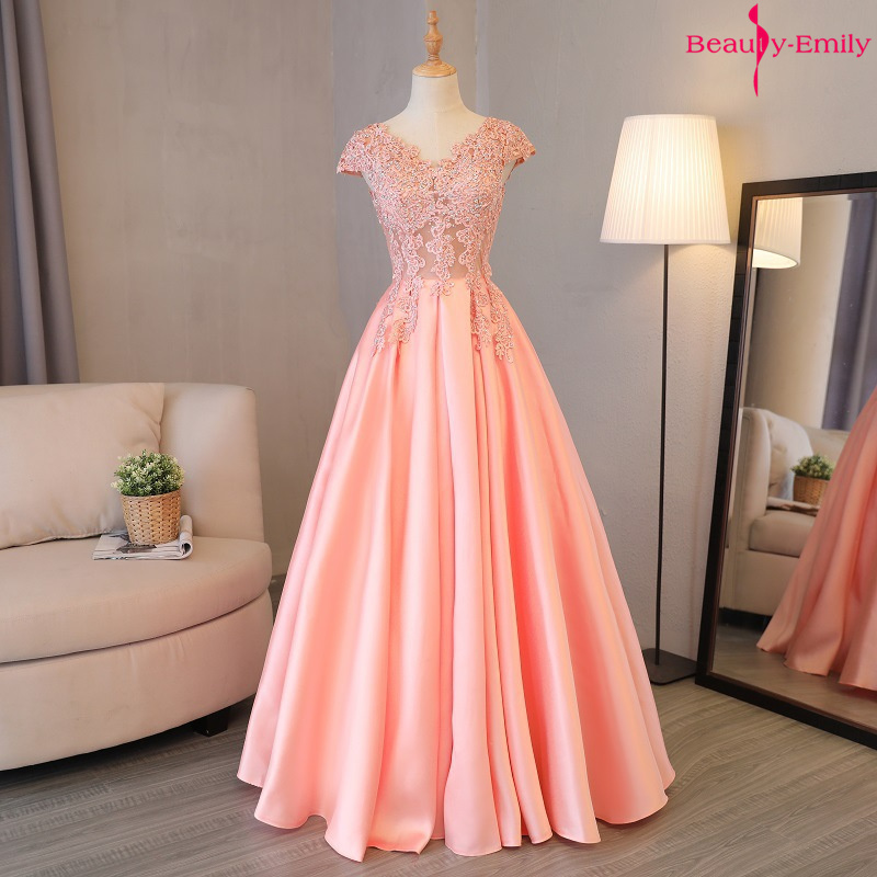 Beauty Emily Gorgeous 2019 Long Lace Appliques Pink Evening Dresses V Neck Sleeveless Pleated Prom Gown For Ceremony Party Dress