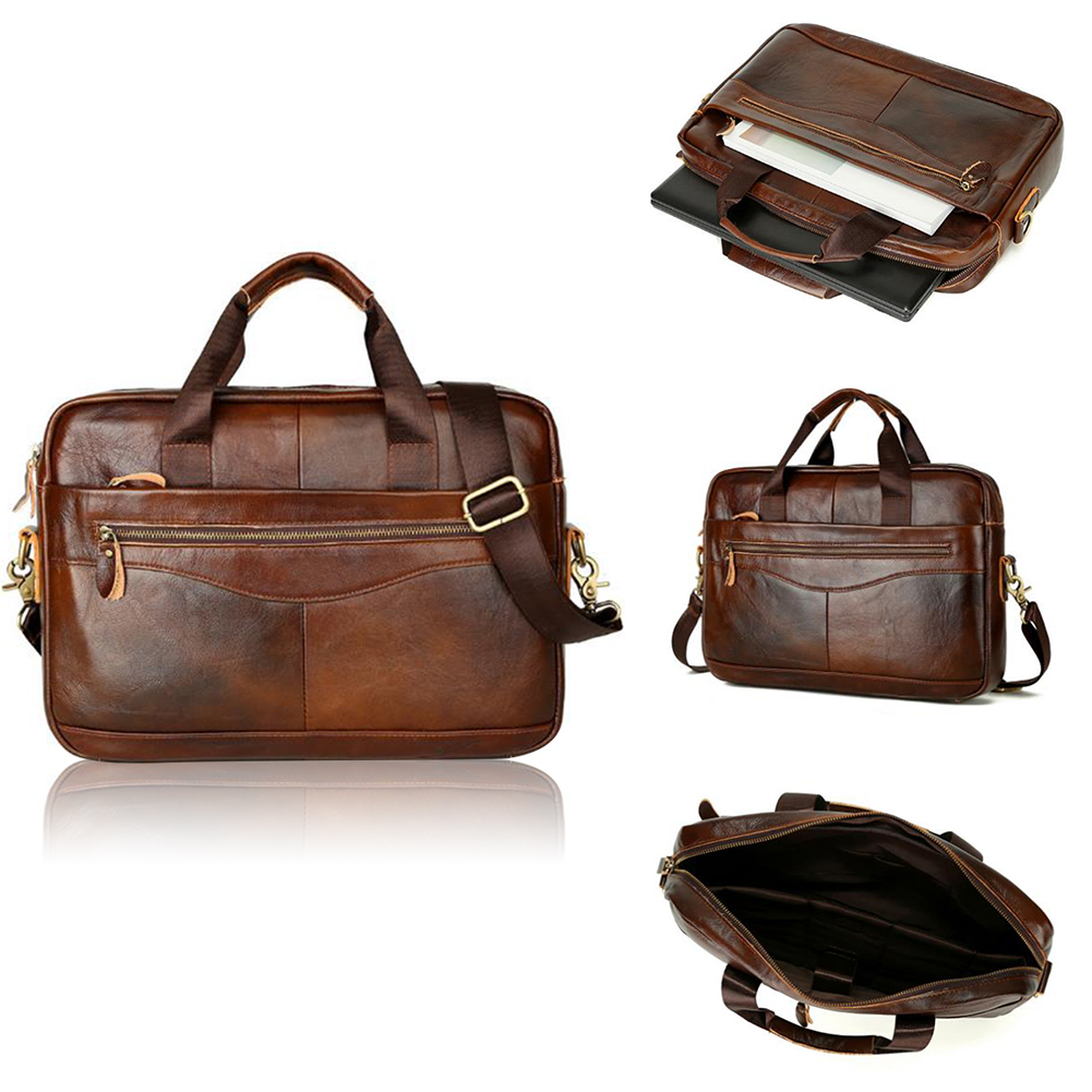 Men Briefcase Handbag Solid Portable Work Storage Travel Zipper Artificial Leather With Strap Large Capacity Business Case