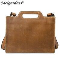 Vintage Crazy Horse Men Bags Genuine Leather Business Briefcase Messenger Bags For Male Office iPad Laptop Document Handbags