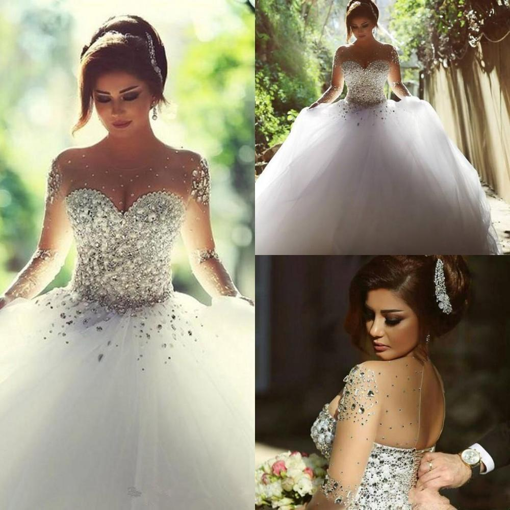 Luxury Crystals Long Sleeves Ball Gowns Wedding Dresses Rhinestones Lace-up Back Arabic Wedding Gown Sheer Neck Vestidos De Nov