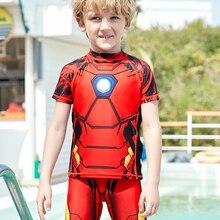 Original Disney Children Swimsuit Boys One Piece Sunscreen Swimming Spider Man Iron Man Swimwear Boys Kids Kid Swim Suits