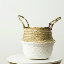 Seagrass Wicker Basket Household Foldable Woven Storage Pot Hanging Garden Flower Vase With Handle Bellied