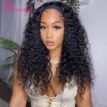 Кудрявый вьющиеся парик с головной повязкой парики из натуральных волос для черный Для женщин бразильские волосы парики лента для волос па...