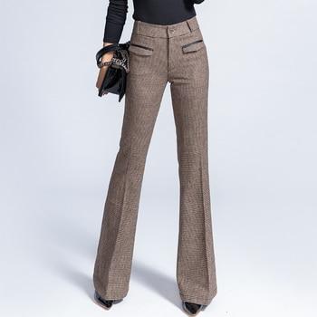 2020 New Wool High Waist Bell Bottom Pants Female Autumn Winter Drape Trousers Feel Wide Leg Pants Women Plus Size Streetwear