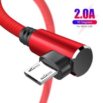 Cable Micro USB 2A cargador rápido Cable USB sincronización de datos 90 grados codo Nylon Cable de datos para Samsung Sony Xiaomi Huawei teléfono Android