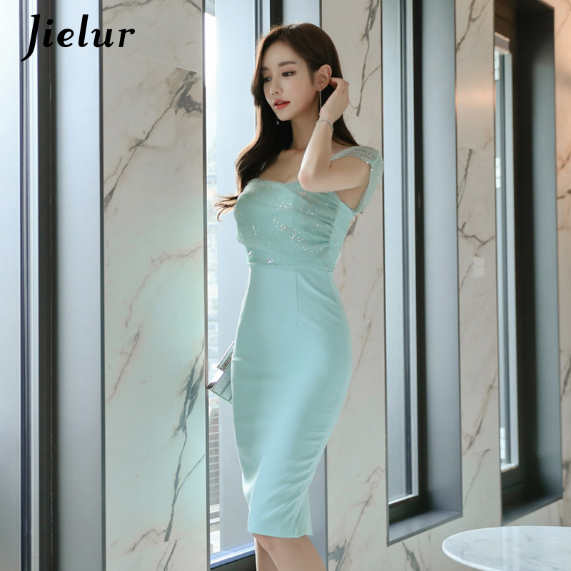 Jielur Off Shoulder Dress Womens Mesh Patchwork Summer Solid Color Slim Elegant Party Bodycon Dresses Green Sexy Club Vestidos