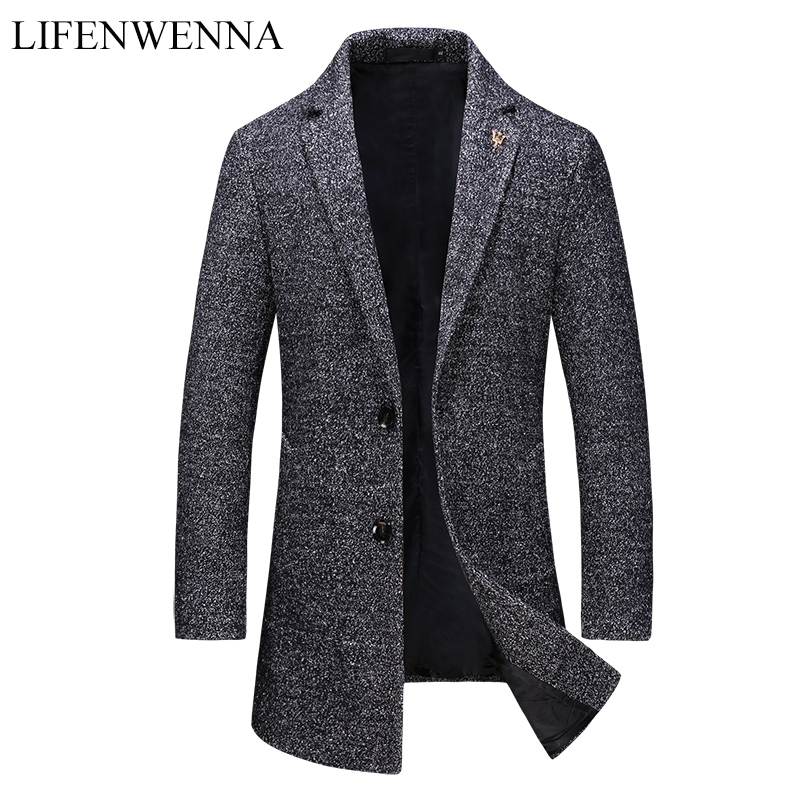 2019 New Autumn Fashion Brand Jacket Mens Wool Coat Single Breasted Business Coats Mens Clothing Trend Mid-Long Trench Coat Men
