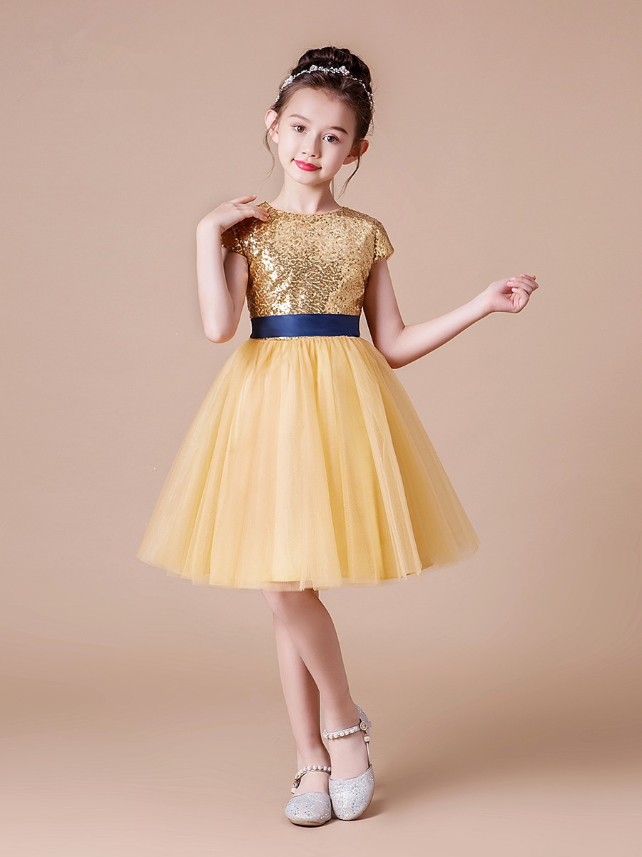 Golden Lace Sequin Flower Girl Dresses for Wedding Party Elegant Lace Short Sleeve Kids Princess Gown First Communion Clothes