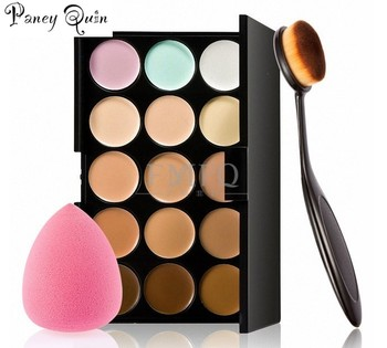 15 color Concealer Contouring Makeup Kit Cream Based Professional Concealer Palette Make up Set Pro Palette brush Sponge Puff