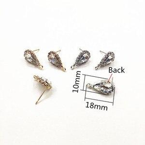 Image 2 - Nieuwe Collectie! 18X10Mm 100Pcs Drop Shape Strass Klauw Ketting Oorbellen Stud Voor Oorbellen/Oorbellen Accessoires/Oorbel onderdelen Diy