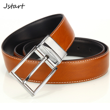 double-sided design 2 color black brown men genuine leather