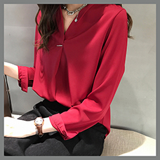 Womens-Solid-V-Neck-Blouses-Plus-Size-Loose-Shirts-Ladies-Casual-Long-Sleeve-Chiffon-Blouses-Elegant