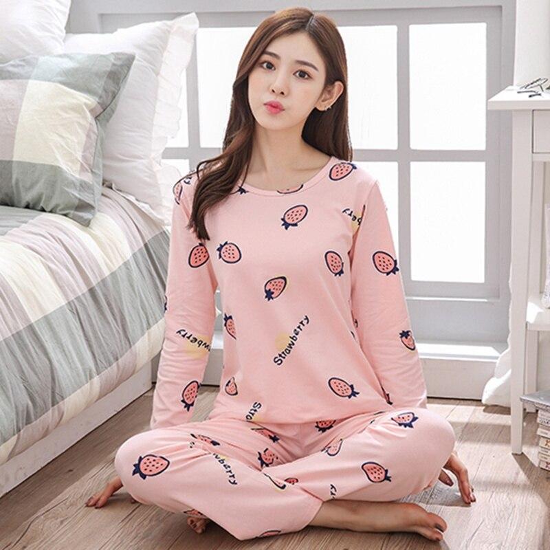 Women's Cotton Print Pajamas Spring Full-sleeved Pajamas Suit For Girl Princess Sweet Home Clothes Thin Pijama Mujer Sleepwear