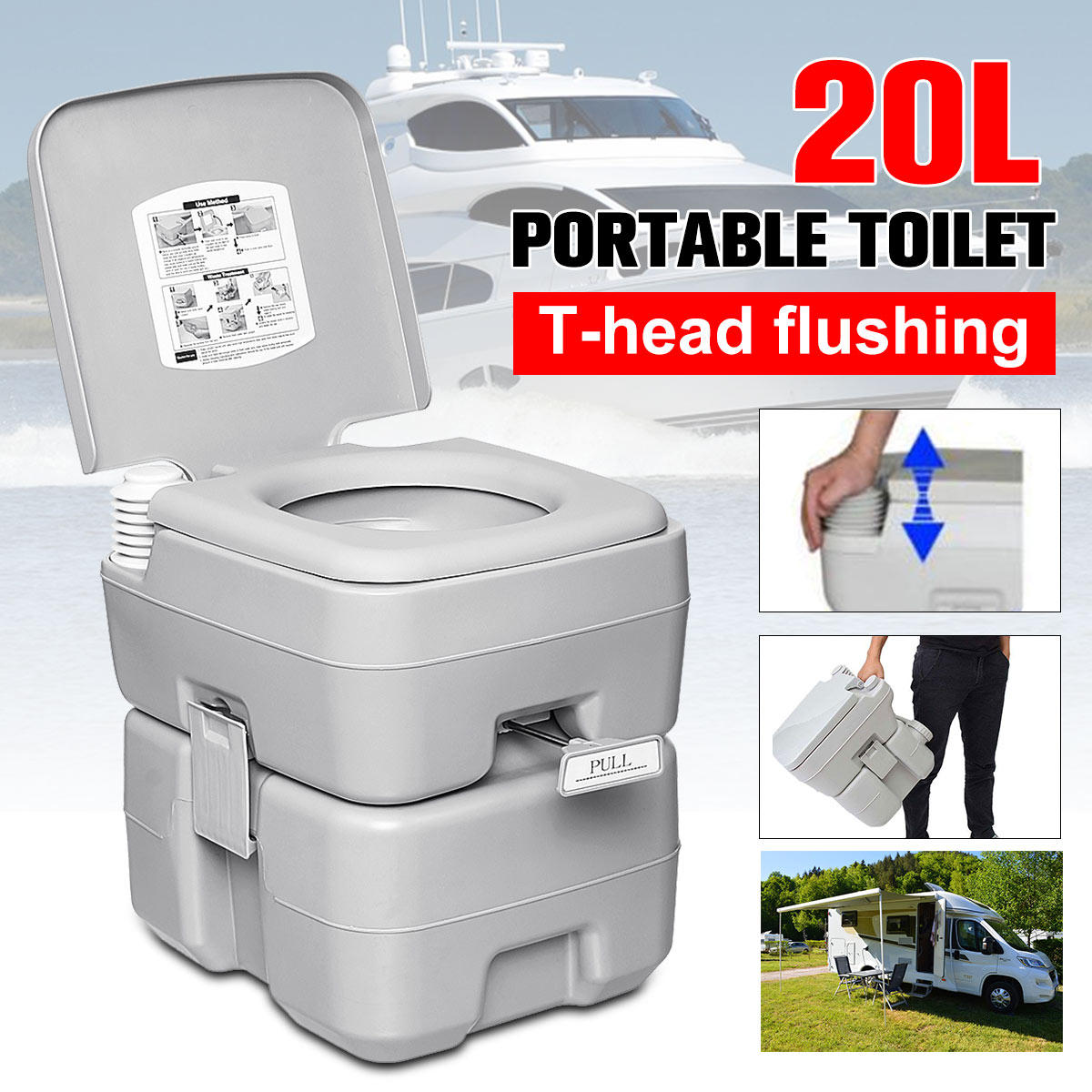 20L Outdoor Portable Camping Toilet Caravan Travel Camp Boating Fishing Flush Toilet