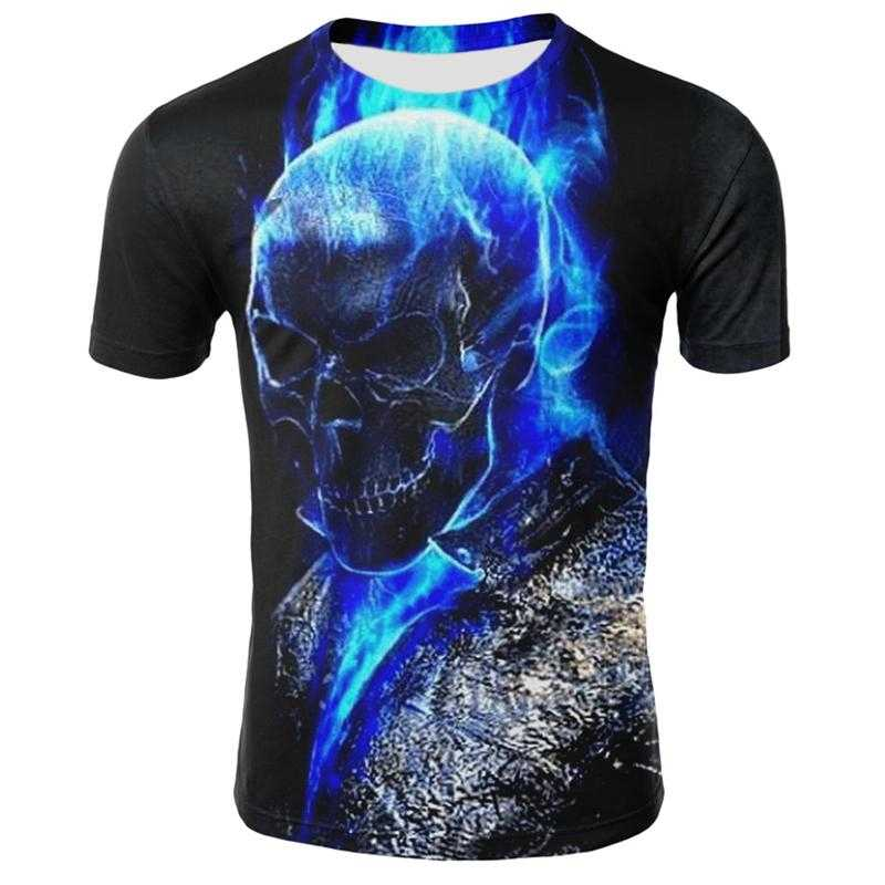 Heren Schedel T Shirts Fashion Zomer Korte Mouw Ghost Rider Cool T-shirt 3D Blue Skull Print Tops Rock Fire Skull tshirt Mannen