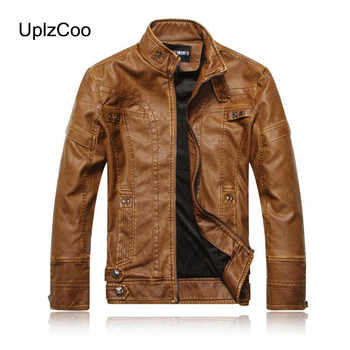 UplzCoo 2019 Autumn Winter Men's  PU Leather Jacket Zipper Coat Button Warm Casual Male Fit Slim Coat Men's Clothing 5XL FM168 - DISCOUNT ITEM  0% OFF All Category