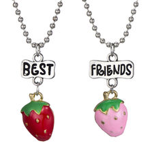 2 Styles Baby Fruit Necklace Boy Girl Cherry Strawberry Pendant Necklace Long Beads Chain Friendship Jewelry For Children(China)