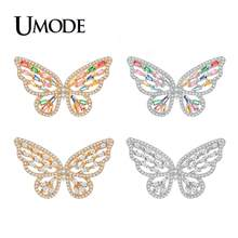 UMODE Fashion 2019 New Colorful Zircon Butterflow Stud Earrings for Women Champagne Gold Hollow Earring Crystal Jewelry AUE0602(China)