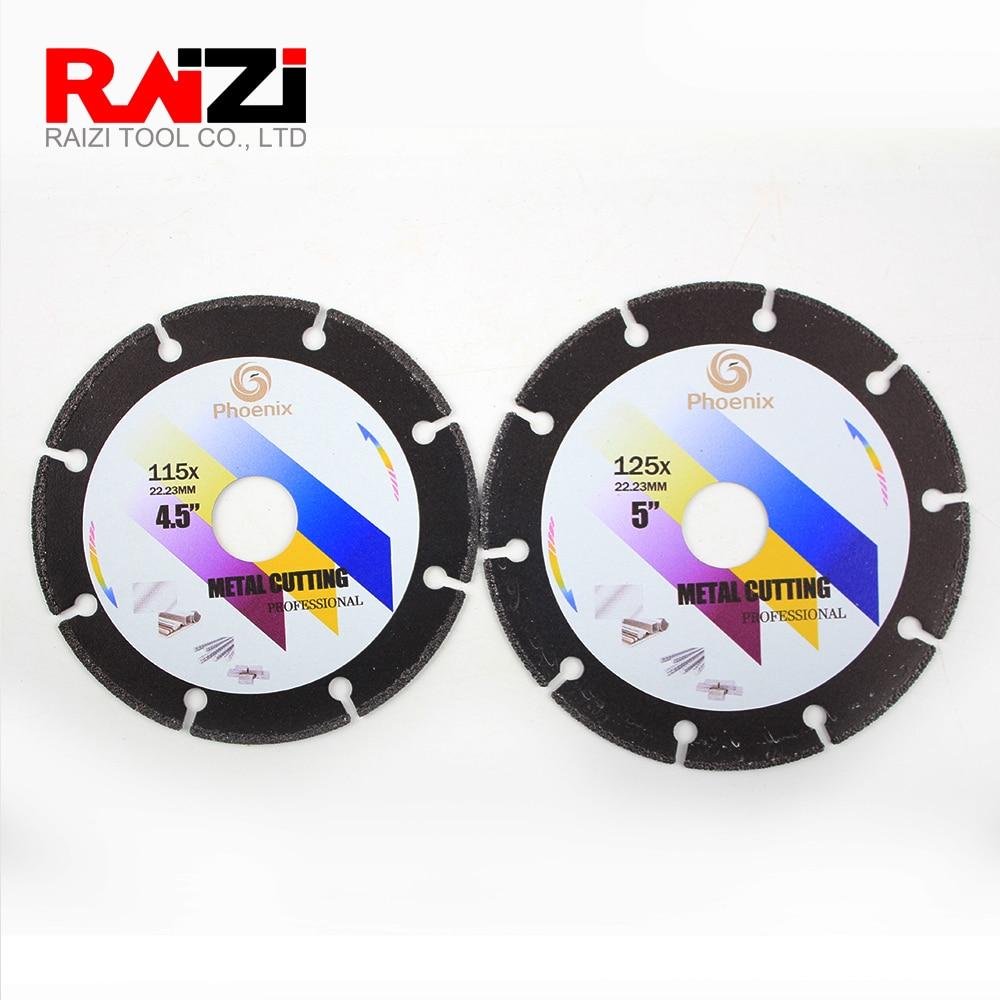 Raizi-disque de coupe en métal diamant, lame 4.5, 5 pouces, pour meuleuse dangle en acier et tôle, acier inoxydable, outil de coupe abrasive